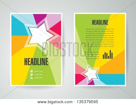flyer brochure design template vector star colored rays