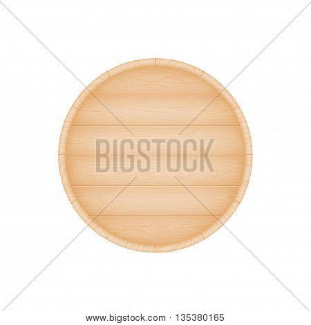 Natural textured wooden beer oak barrel bottom vector illustration