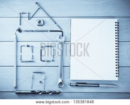 engineering concept on wooden background