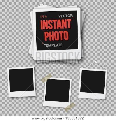 Illustration of Vector Instant Photo. Blank Vintage Photo Frame Mockup Isolated on a Transparent Overlay Background. Photorealistic Vector EPS10 Retro Instant Photo Frame Mockup