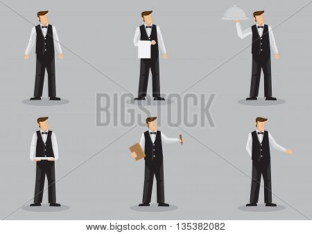 Set of six vector cartoon illustration of waiter character isolated on grey background.