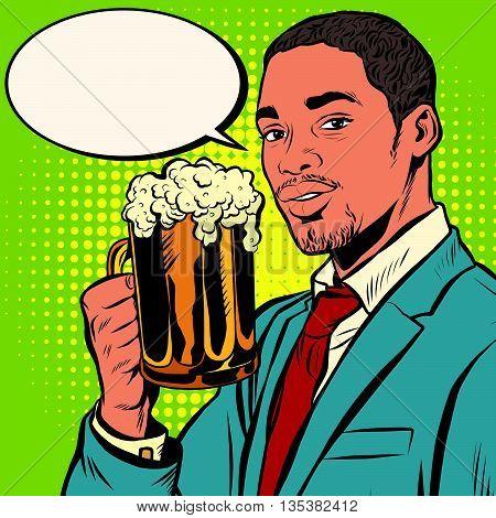 Elegant black man with a beer pop art retro vector. Bars restaurants pubs. Alcoholic beverage. Oktoberfest beer festival