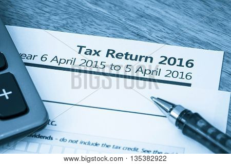 HMRC income tax return form 2016 for UK