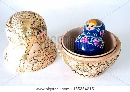 Russian nesting dolls (babushka) half open, toy