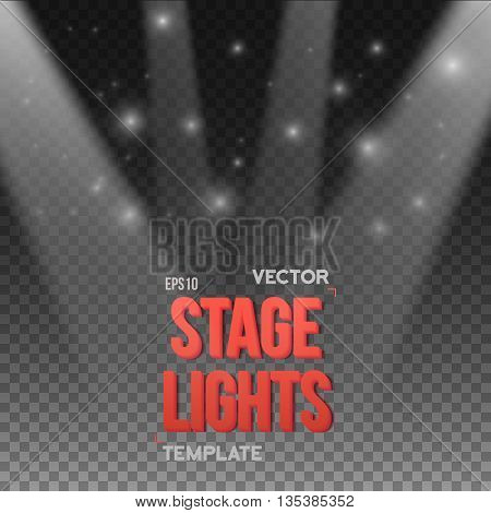 Illustration of Vector Transparent Studio Stage Light Effect. EPS10 Stage Light Illuminating Podium. Bright Stage Light Effect. Transparent Studio Stage Light Effect on Transparent Overlay Background