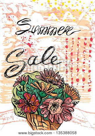 Hand drawn vector abstract template card for Summer sale.Design element for summer saleflower salefood sale travel saleorganic salenatural food sale shopping saleholidays saleseasson sale.