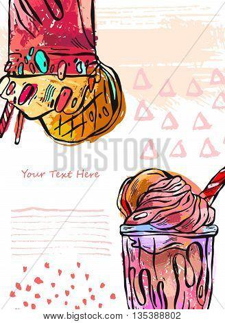 Hand draw vector textured card of milkshake.Design for kids menubirthday.Card template.Sweet backgroundNatural desertOrganic desertFruit smoothieMonstershake in cocktail jar image