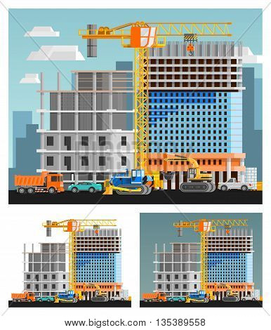 Block of flats construction and city orthogonal compositions set flat isolated vector illustration