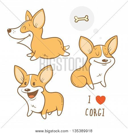 Cute cartoon dogs  breed Welsh Corgi Pembroke set. Children's illustration. Three little puppy.  Funny baby animal. Vector image.