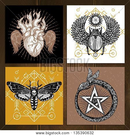 Insects Occult Tattoo Sketch Concept. Occult Tattoo Hand Drawn Set. Magic Tattoo Vector Illustration. Magic Occult Tattoo Symbols. Magic Occult Tattoo Design Set.