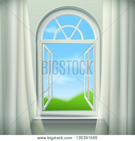Open Arched Window  Background. Open Arched Window Vector Illustration. Open Arched Window Design. Arched Window Realistic  Decorative Illustration.