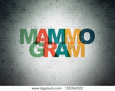 Healthcare concept: Painted multicolor text Mammogram on Digital Data Paper background