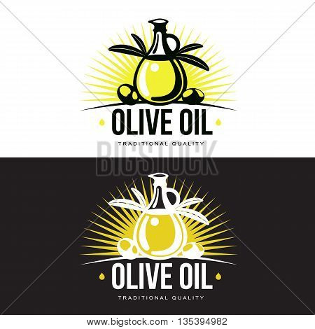 Logo Set about olive oil, vector illustration logos isolated on a white background, simple logos with olives and olive oil, black and yellow color design symbols