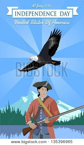 Independence Day. US Independence Day. Minuteman and the eagle against the backdrop of the American landscape. Happy Independence Day. Independence Day 4th july 1776.
