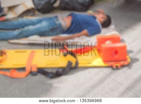 Blur blurred physician readiness yellow stretcher medical equipment casualty, assist a patient in emergency rescue situations.