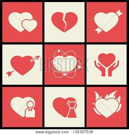 Heart flat icons set for valentines day and wedding. Heart valentine day, crack heart, health heart pulse, human heart. Vector illustration
