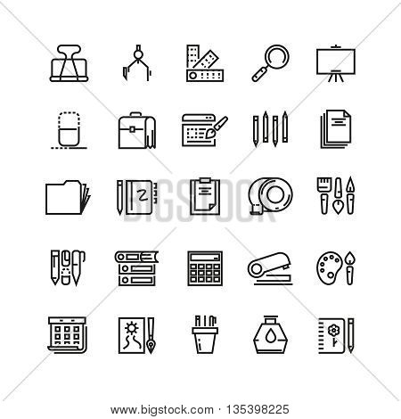 Office stationery, drawing and writing line vector icons. Stationery tool icon, pencil and pen stationery, icon drawing stationery, brush instrument illustration