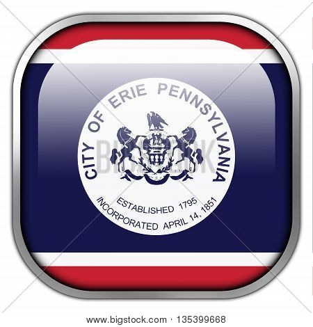 Flag Of Erie, Pennsylvania, Square Glossy Button