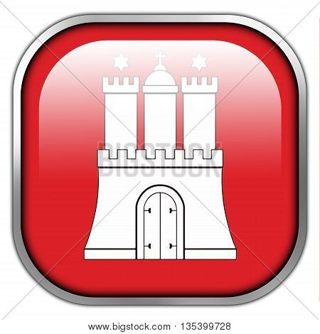 Flag Of Free And Hanseatic City Of Hamburg, Square Glossy Button