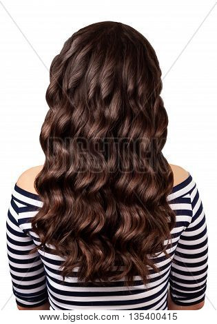 Back view of brunette woman with long dark curly hair isolated on white background. Long curly hair. Curly hair isolated on white background