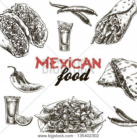 hand drawn sketches of Mexican food on a white background