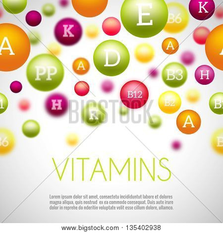 Vitamins and minerals background. Vitamin mineral, health mineral and vitamin, medical group vitamins, science natural minerals. Vector illustration
