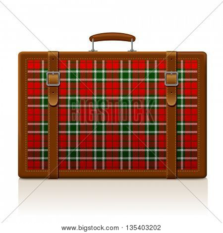 Vintage brown threadbare suitcase with tartan ornament isolated on white. Voyage and traveling symbol and metaphor. 3D illustration. Contain the Clipping Path