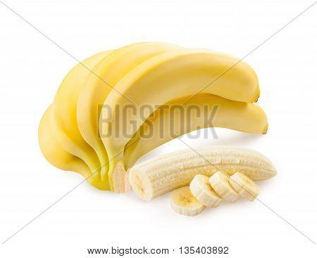 Banana. Ripe bananas isolated on a white background. Freshly sliced banana.