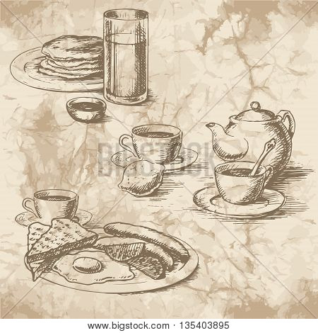 Freehand drawing of the breakfast on the old paper. Sausages eggs sunny side up toast crumpets lemon tea juice and coffee with kettle. Vintage style of food design.