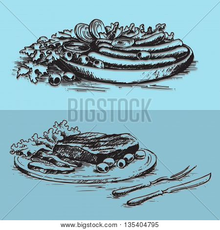 Delicious steak on a plate with lettuce leaves and a dish with sausage and vegetables. Hand drawn vector illustration.