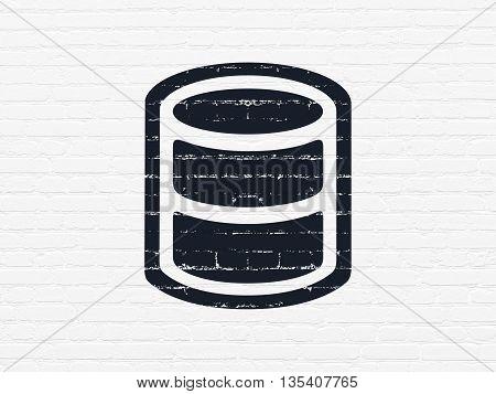 Database concept: Painted black Database icon on White Brick wall background