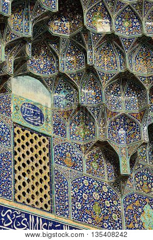 ISFAHAN - APRIL 19: detail of exterior of the Sheikh Lotfollah Mosque in Isfahan Iran on April 19 2015. Construction of the mosque started in 1603 and was finished in 1619.