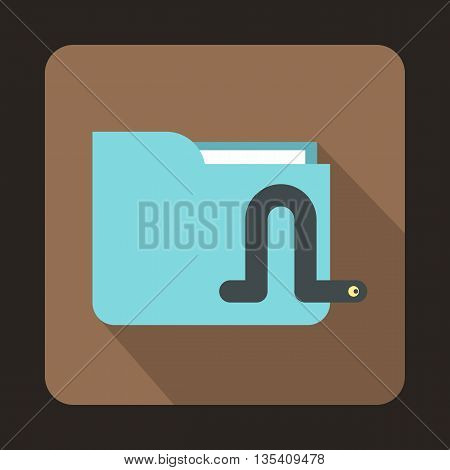 Computer worm icon in flat style on a brown background