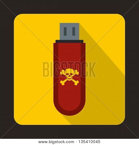 Infected USB flash drive icon in flat style on a yellow background