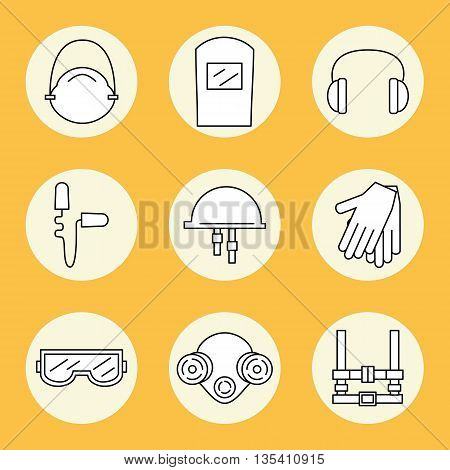 Individual protection. Set of icons of personal protective equipment in construction. Protective equipment for eyes head ears hands lungs and the body. Body protection and health. Vector illustration.