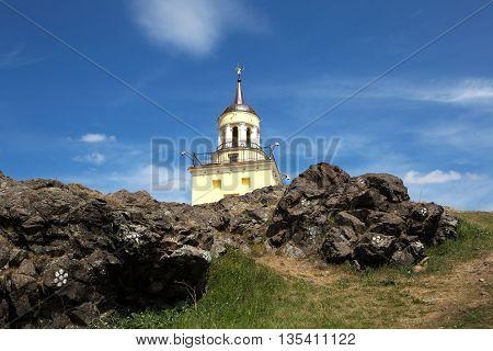 Mountain landscape with a tower. Sverdlovsk region, Nizhny Tagil. Russia.