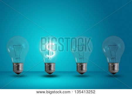 Money making idea. Dollar symbol glow among other light bulb on a blue background
