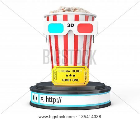Box of Popcorn 3D Glasses and an Admit One ticket over Browser Address Bar as Round Platform Pedestal on a white background. 3d Rendering