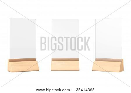 White Blank Transparent Table Plate Cards on a white background. 3d Rendering