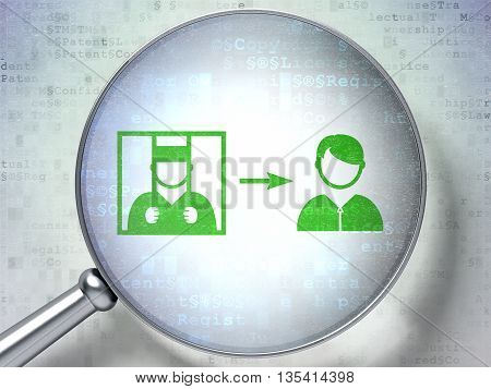 Law concept: magnifying optical glass with Criminal Freed icon on digital background, 3D rendering