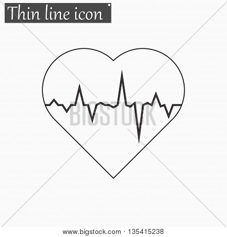 electrocardiogram icon Vector Style Black thin line