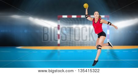 Female athlete with elbow pad throwing handball against digital image of handball goal