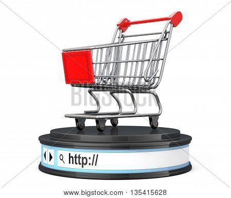 Shopping Cart over Browser Address Bar as Round Platform Pedestal on a white background. 3d Rendering