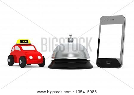 Toy Taxi Car with Mobile Phone and Service Bell on a white background. 3d Rendering