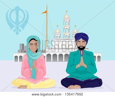an illustration of a sikh couple praying outside of a gurdwara temple under a blue sky