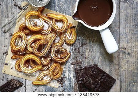 Traditional Mexican Dessert Churros With Chocolate Sause.