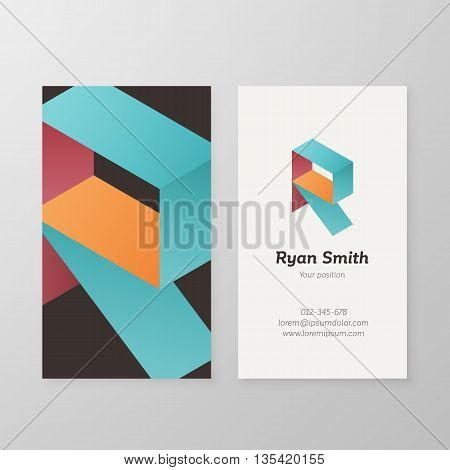 Business card with isometric letter R template. Vector business card editable design.