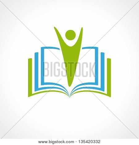 Education vector logo template open book and human. Education logo open book. School, university, academic and college concept symbol