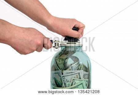 man preserves the American currency, isolated on white background