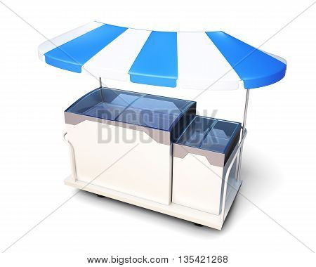 Mobile stall with ice cream under a canopy isolated on a white background. 3d rendering.